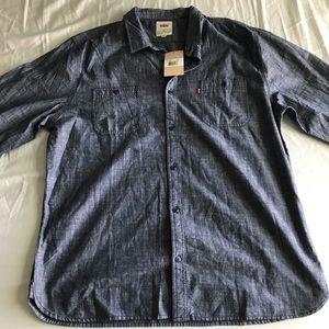 Levis denim chambray button down shirt xxl NWT